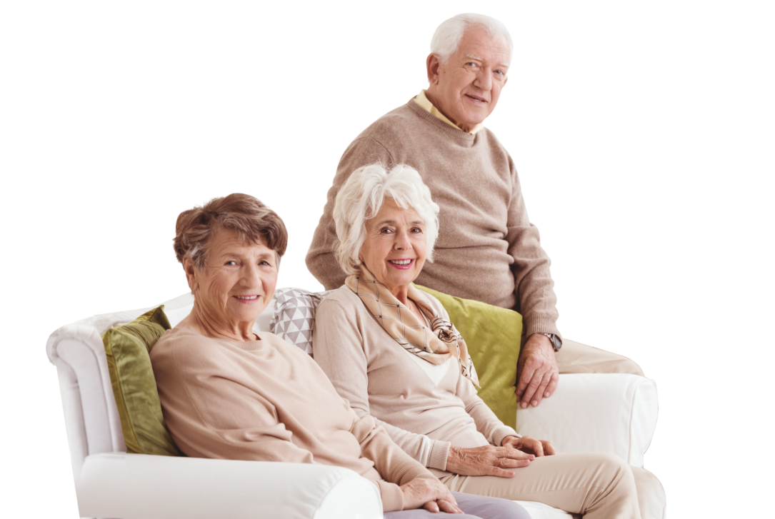 group of seniors sitting on a chair