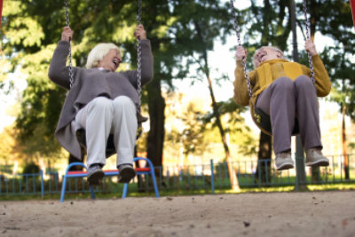 senior playing in the park