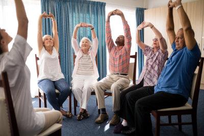 group of senior stretching